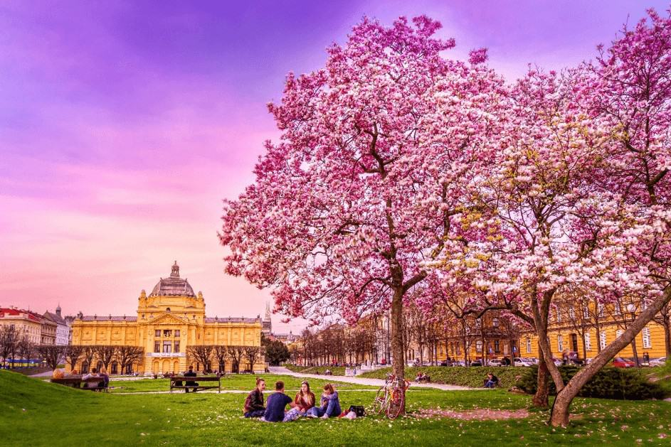 Zagreb city park holiday vakantie